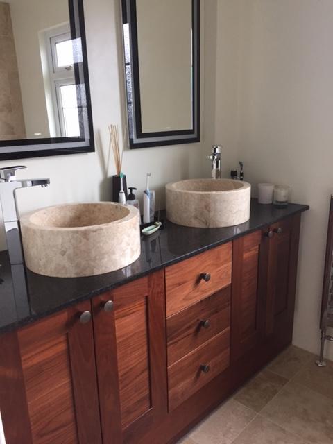 Cream Natural Stone Marble Wash Basin 40cm Drum Sink